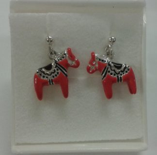 Sølvøredobber med dalahest / silver earrings with red horse