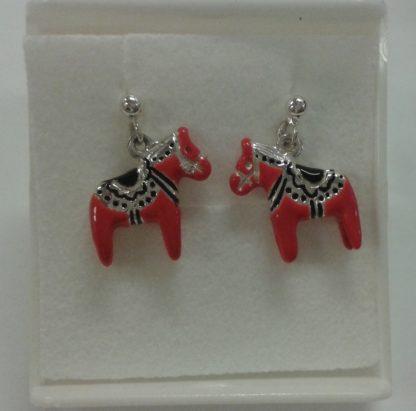 Sølvøredobber med dalahest / silver earrings with red horse