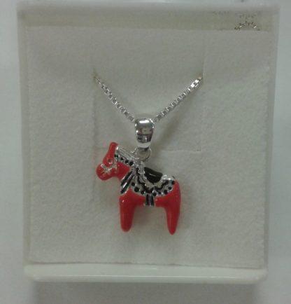 Sølvsmykke med dalahest / silver earrings with red horse