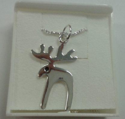 Sølvsmykke med reinsdyr / silver necklace with reindeer