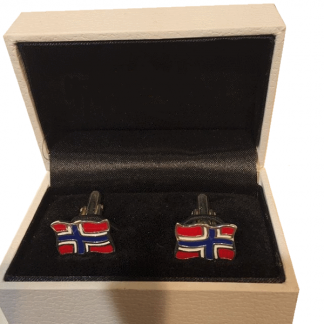 Mansjettknapper i sølv med norsk flagg