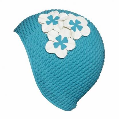Blå badehette med tre blomster